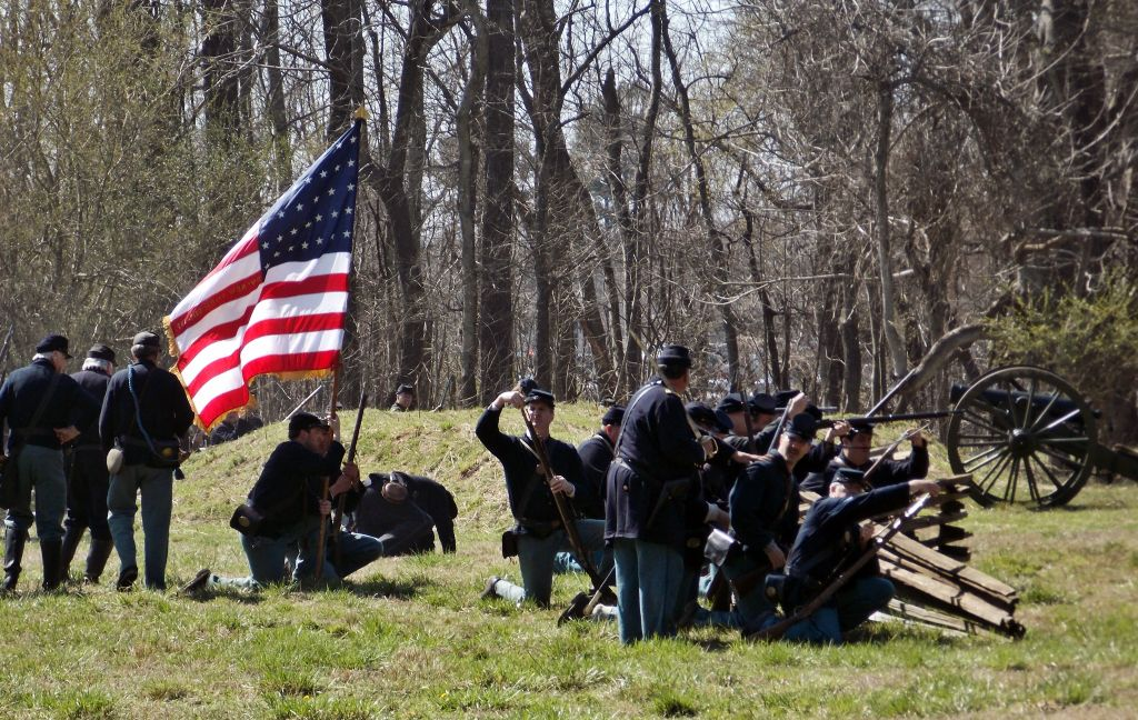 military civil war battle scene
