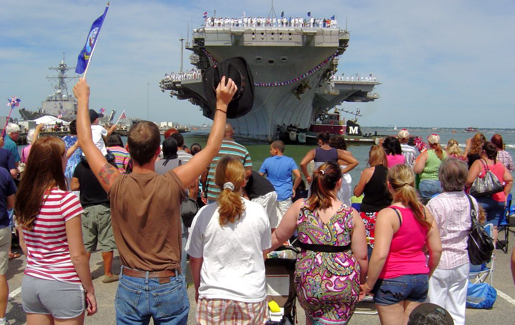 military family greeting USS Enterprise