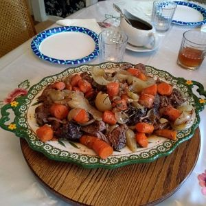 pot roast, carrots, and potatoes
