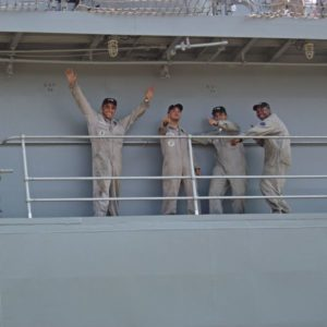 brazil sailors waving goodbye