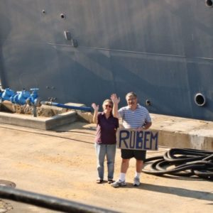 yvonne and john greeting brazilian ship